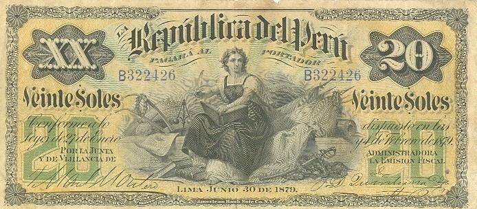 Old 20 Nuevos Soles Banknote, Peru