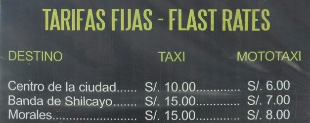 Taxi Fares From Tarapoto Airport