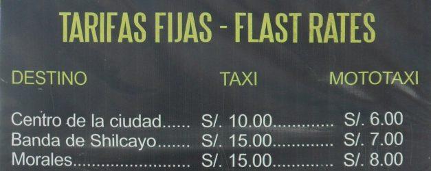 Taxi Fares From Tarapoto Airport